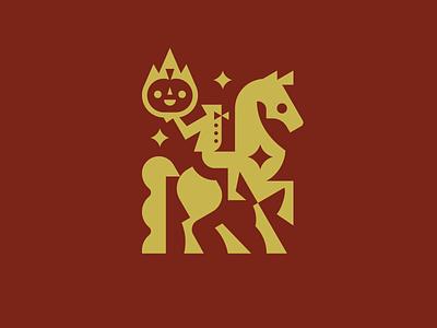 Headless Horseman monochrome minimalism cute horror mystic halloween pumpkin sleepy hollow horseman horse mascot geometric illustration animal modern logo logotype logo