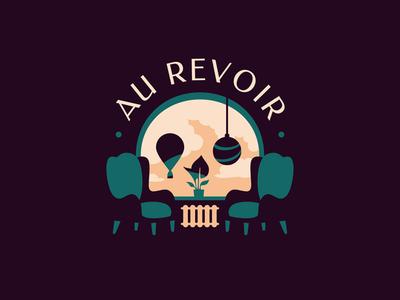AU REVOIR window retro illusion room skull illustration logotype logo mystic