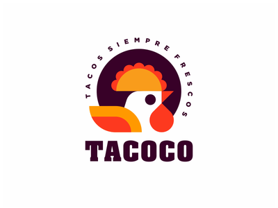 Tacoco shop character taco bird food rooster cock cute logo