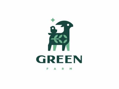 Green Farm mascot logotype logo chick goat character cute animal