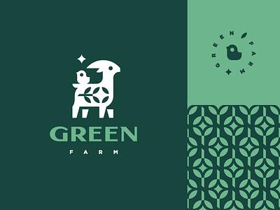 Green Farm flower plant star pattern cheese milk mascot logotype logo cute goat chick character animal