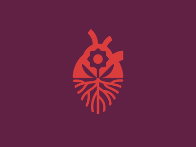 Heart roots heart flower plant sign logo