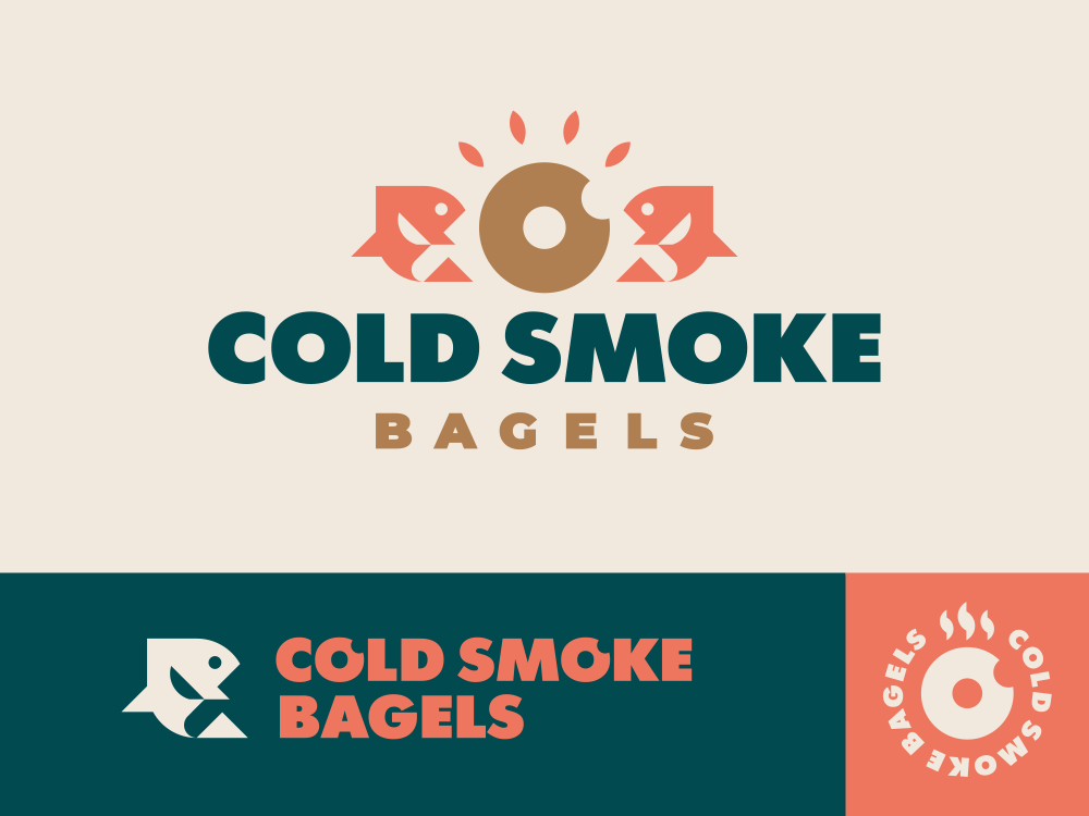 Cold Smoke Bagels modern logo cafe smoke restaurant food bagel fish logo