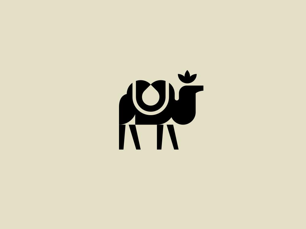 camel mark modern logo monochrome sketch mark water logotype east camel animal logo