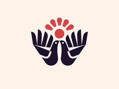 kiss kiss monochrome modern logo cute hands hand flower sun birds bird logo