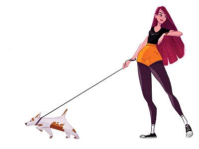 Walk characterdesign visualdevelopment digitalart drawing art illustrator digitalillustration originalcharater digitalpaint animal dog illustration