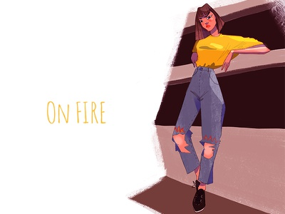 Yellow fashionillustration girly characters characterdesign girl cool attitude badass urban urbanfashion yellow fashion