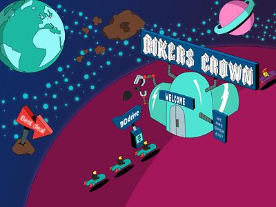 Bikers Crown adobe graphic design vector dribbble illustration
