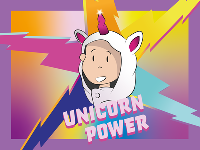 Unicorn Power adobe vector graphic illustrator dribbble illustration