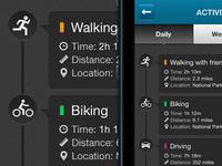 iPhone App Design / Activity log screen