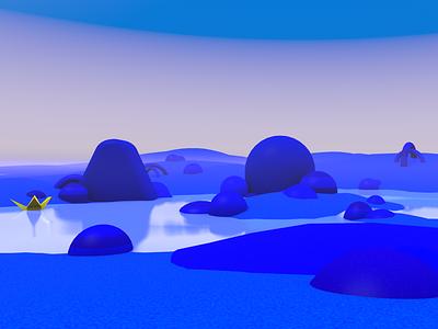 3d landscape blue concept cinema 4d 3d art cinema4d 3d modeling c4d illustration isometric 3d clean