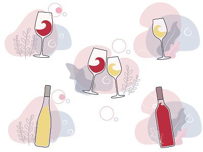 Icons for online wine shop vector art vector illustration glasses wine icon set ui illustration