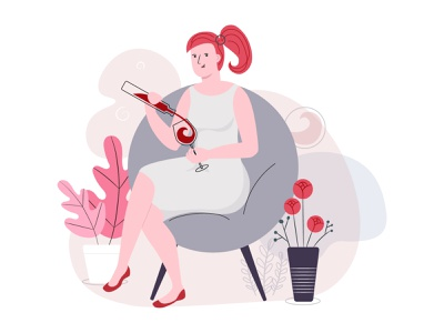 Illustration for wine shop illustrator vector art character wine vector illustration vector ui illustration