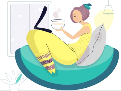 Winter day cozy teatime woman illustrations vector vector art illustrator remote work winter winter is coming