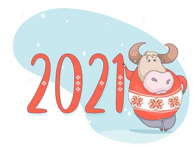New year 2021 vector winter belarus animals 2021 greeting card artwork artist illustrator illustrations new year cow cartoon