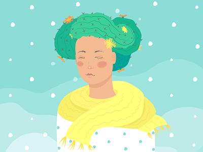 Cacti-girl artwork fantasy moody scarf character design snow winter cacti girl vector illustration