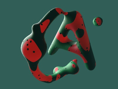 Watermelon  letter letter 3d art cinema4d fruit logo fruity watermelon type texture organic logo illustration 3d modeling c4d 3d