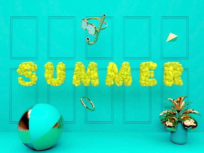Summer time vacation summer letters graphic design cinema4d 3d modeling c4d 3d illustration