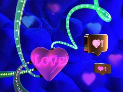 Artifical love textures 3d art dating socials isometric composition abstract likes heart c4d cinema4d 3d modeling illustration 3d
