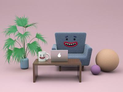 Work from home composition characters smile remote work 3d illustration render redshift 3d illustration cinema4d 3d modeling c4d