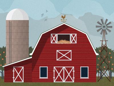 Farm barn trees mountains birds red