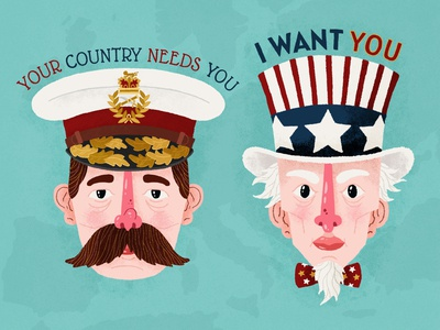 World War Heads united states illustration kitchener uncle sam britain america