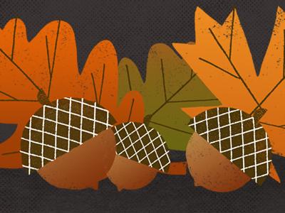 Happy Fall texture happy leaves acorns type illustration squirrel season colors