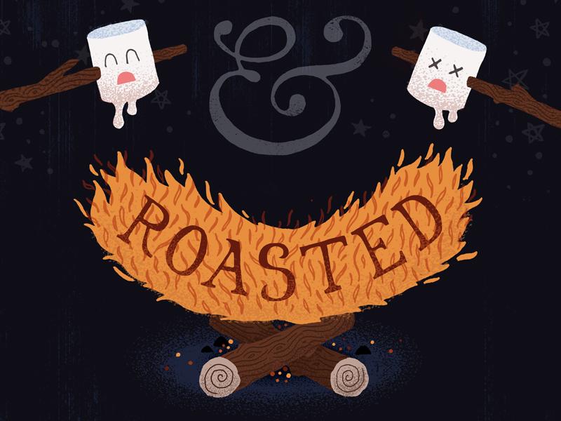 Toasted & Roasted terror woodgrain ampersand marshmallows campfire design handdone illustration
