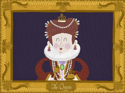 The Queen elizabethan queen typography illustration design
