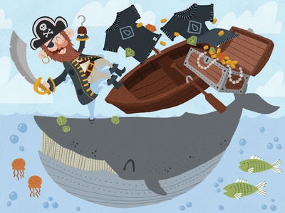 Whale of a Sale illustration ocean treasure boat pirate whale