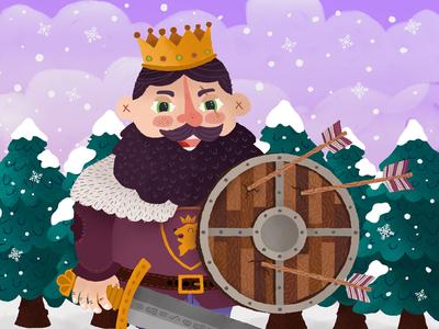 Battle King snow winter king design illustration