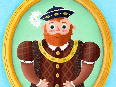 Portrait of a King educational education app gold blue beard royalty childrens illustration childrens frame king illustration