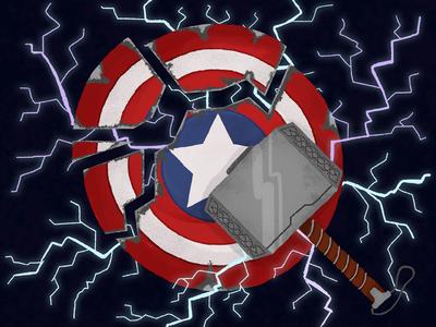 Cap Shield mjolnir lightning hammer thor captain america captain avengers childrens childrens illustration illustration