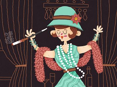 Flapper green purple dress dancing 1920s vintage childrens illustration childrens illustration
