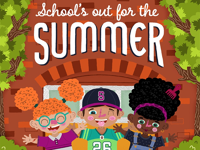 School's Out summer school kids childrens illustration childrens illustration
