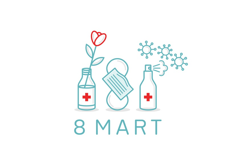 Gifts for 8 March plus bacterium logo save coronavirus 8 march flower doctor spray medical alcoholic icons symbol