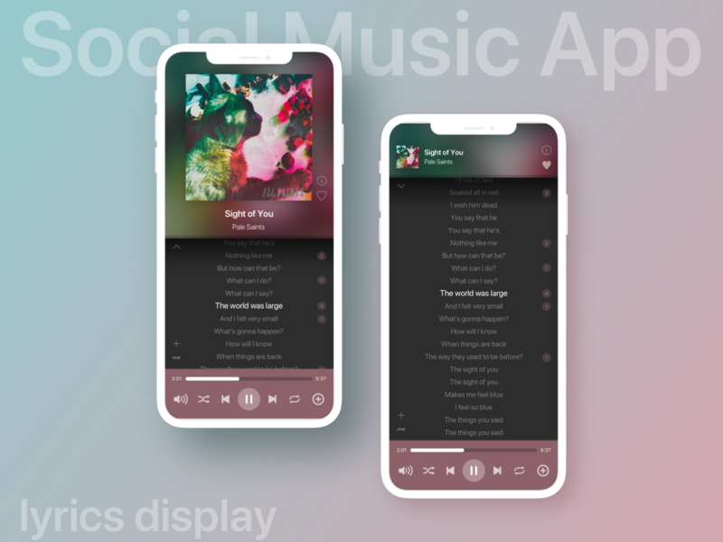 UI exercise: social music app 1 - lyrics display