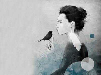 LUNA occult mystic mixed media strength body figurative woman fine art illustration