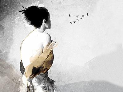 DREAMSCAPE mystic mixed media strength body figurative woman fine art illustration
