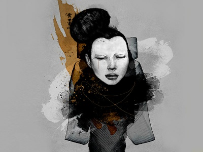 Senshi fine art mixed media street art samurai strength figurative body woman illustration