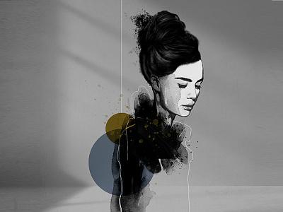 Serenity strength mixed media body figurative woman fine art illustration