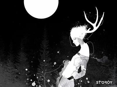 NORTH occult mystic mixed media body figurative woman fine art illustration