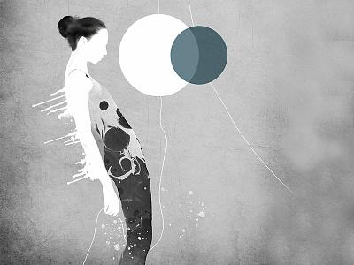 Hypnotic mixed media body figurative woman fine art illustration