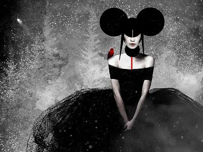 Silent Night occult mystic strength mixed media body figurative woman fine art illustration