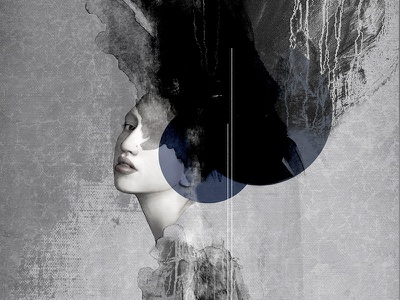 So Black and Blue occult mystic strength mixed media body figurative woman fine art illustration