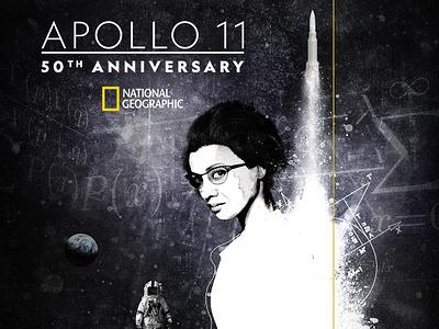 Apollo11 Poster astronaut universe space mixed media illustration