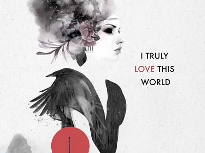 I truly love this world strength mystic mixed media body figurative woman fine art illustration