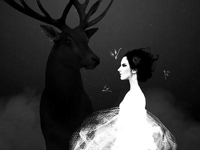 The Wild Rose occult mystic strength mixed media body figurative woman fine art illustration