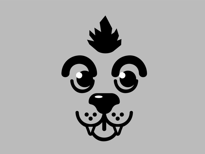 Mohican Dog Face illustrator chrizar dog logo mohican vector illustration dog illustration perro gray design icon pet dog