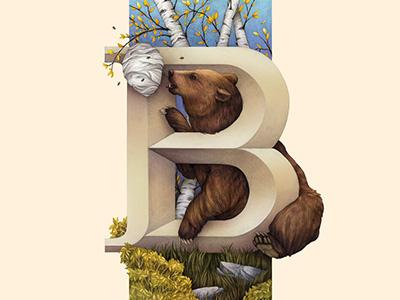 Bear, Living Lettering animals nature illustration environmental lettering typography alphabet bear